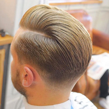 Slicked Back Style, Fade Hair Taper Classic