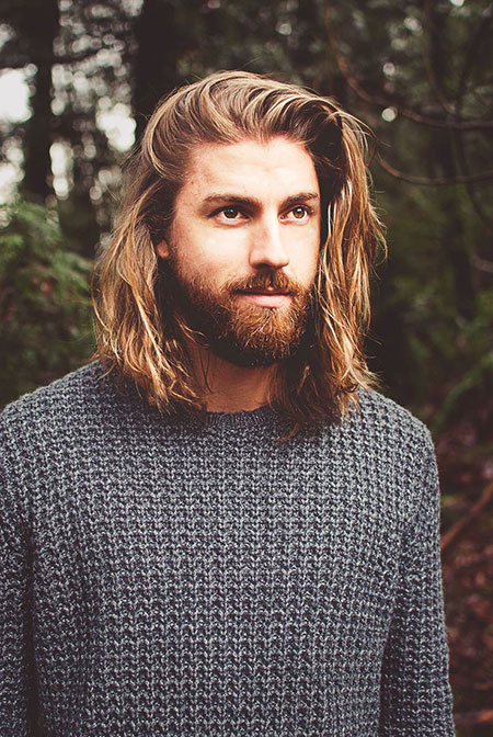 Light Brown Men Long Hair, Long Beard Styles Hair